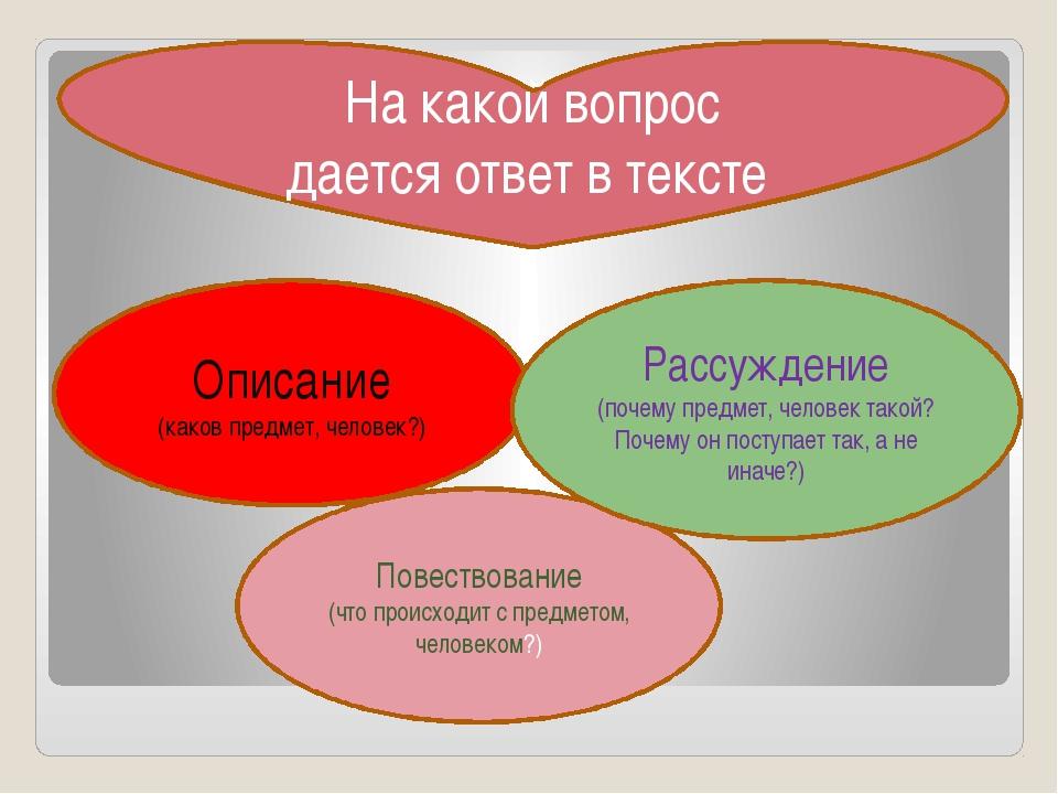 Описание (каков предмет, человек?) Повествование (что происходит с предметом...