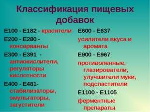 Классификация пищевых добавок E100 - E182 - красители E200 - E280 - консерван