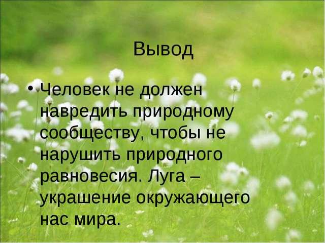 Вывод Человек не должен навредить природному сообществу, чтобы не нарушить пр...