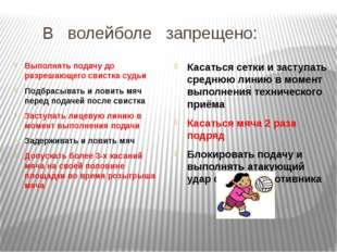 В волейболе запрещено: Выполнять подачу до разрешающего свистка судьи Подбра