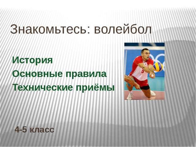 Знакомьтесь: волейбол История Основные правила Технические приёмы 4-5 класс