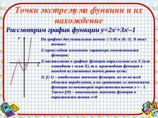 Точки экстремума функции и их нахождение Рассмотрим график функции у=2х3+3х2–