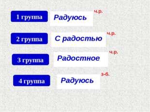 1 группа Радуюсь ч.р. 2 группа С радостью ч.р. 3 группа Радостное ч.р. 4 груп