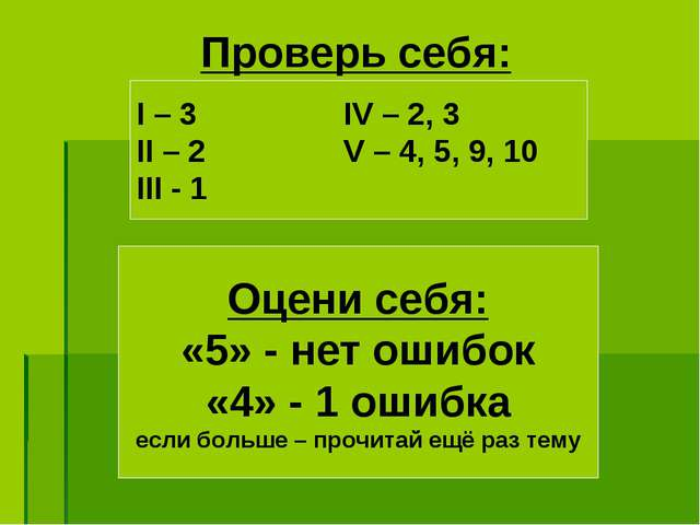 Проверь себя: Оцени себя: «5» - нет ошибок «4» - 1 ошибка если больше – прочи...