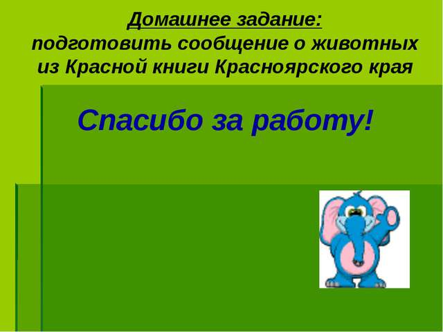 Домашнее задание: подготовить сообщение о животных из Красной книги Красноярс...