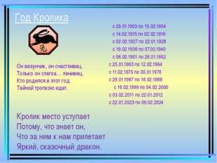 Год Кролика с 29.01.1903 по 15.02.1904 с 14.02.1915 по 02.02.1916 с 02.02.1927 п