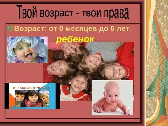 Возраст: от 0 месяцев до 6 лет. ребенок