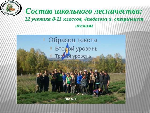 Состав школьного лесничества: 22 ученика 8-11 классов, 4педагога и специалист...