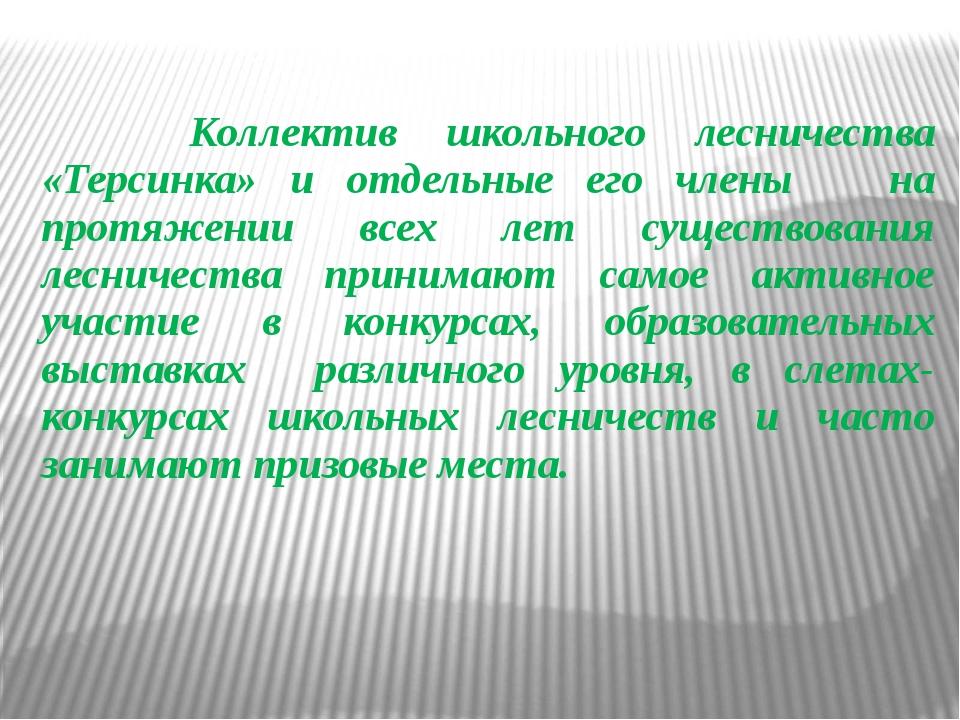 Коллектив школьного лесничества «Терсинка» и отдельные его члены на протяжен...
