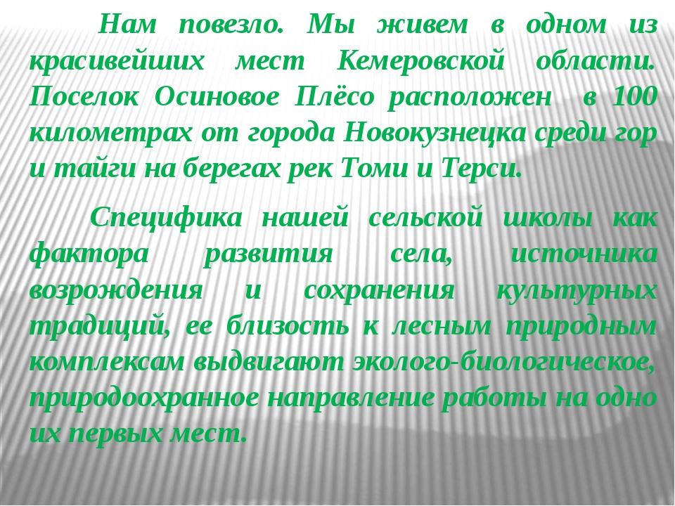 Нам повезло. Мы живем в одном из красивейших мест Кемеровской области. Посел...