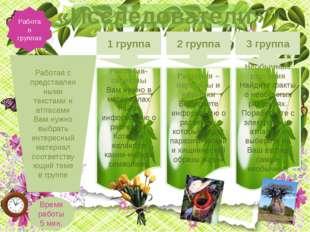 Работа в группах «Исследователи» 1 группа 2 группа 3 группа Растения-символы