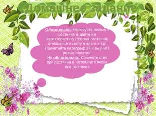 Домашнее задание Обязательно: Нарисуйте любые 3 растения и дайте им характер