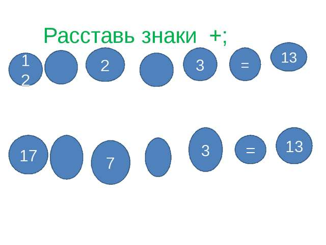 Расставь знаки +; - 2 3 = 12 13 7 3 = 17 13