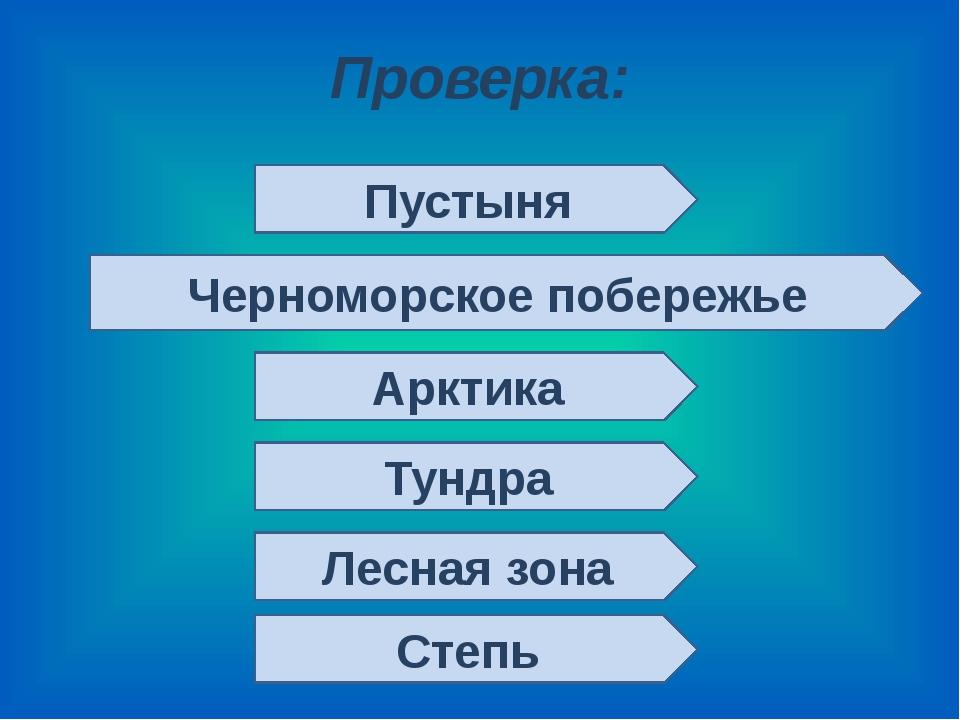 Проверка: Пустыня Черноморское побережье Арктика Тундра Лесная зона Степь