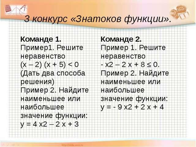 3 конкурс «Знатоков функции». Команде 1. Пример1. Решите неравенство (х– 2) (...