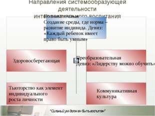 Направления системообразующей деятельности интеллектуального воспитания