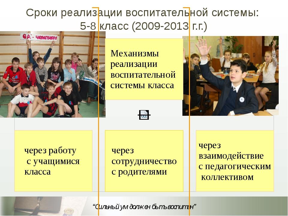 Сроки реализации воспитательной системы: 5-8 класс (2009-2013 г.г.)