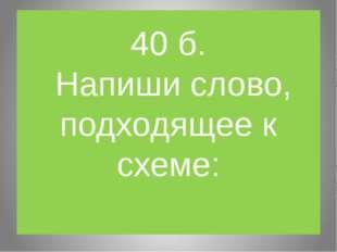 40 б. Напиши слово, подходящее к схеме: