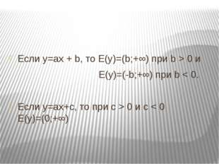 Если у=ах + b, то E(y)=(b;+∞) при b > 0 и E(y)=(-b;+∞) при b < 0. Если у=ах+