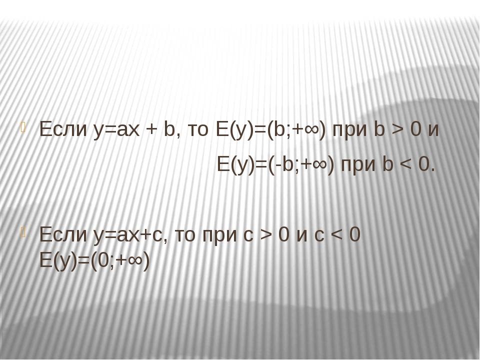 Если у=ах + b, то E(y)=(b;+∞) при b > 0 и E(y)=(-b;+∞) при b < 0. Если у=ах+...