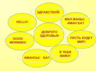 ДОБРОГО ЗДОРОВЬЯ! HELLO! GOOD MORNING! АМАНСЫҢ БА? МАЛ ЖАНЫҢ АМАН БА? ПУСТЬ Б
