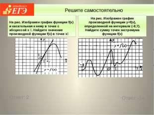 Решите самостоятельно На рис. Изображен график функции f(x) и касательная к н