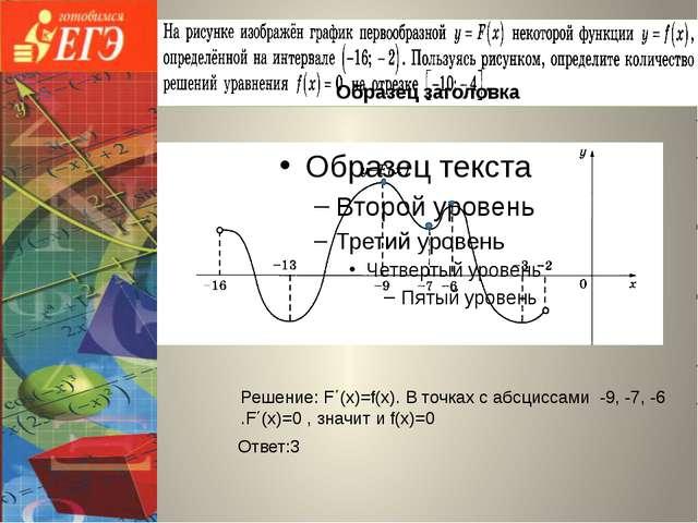 Ответ:3 Решение: F΄(х)=f(х). В точках с абсциссами -9, -7, -6 .F΄(х)=0 , знач...