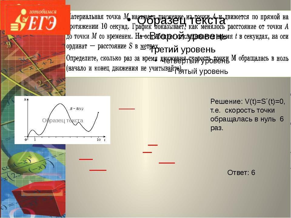 Решение: V(t)=S΄(t)=0, т.е. cкорость точки обращалась в нуль 6 раз. Ответ: 6