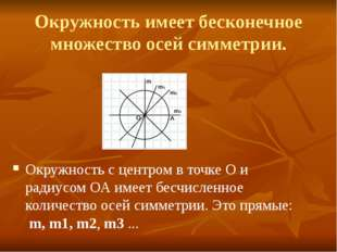 Окружность имеет бесконечное множество осей симметрии. Окружность с центром в