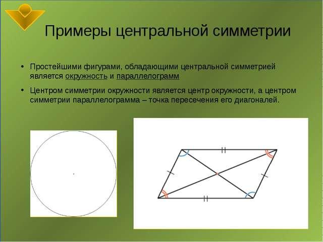 Примеры центральной симметрии Простейшими фигурами, обладающими центральной...