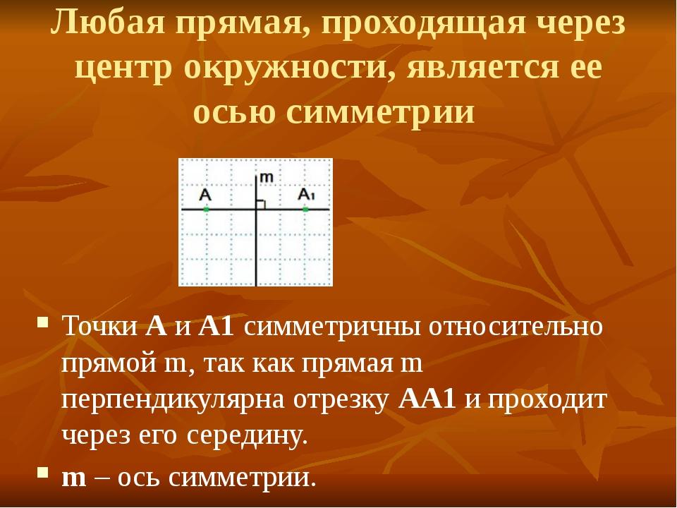 Любая прямая, проходящая через центр окружности, является ее осью симметрии Т...
