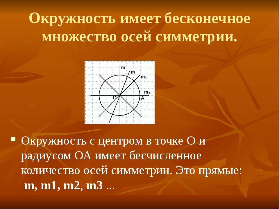 Окружность имеет бесконечное множество осей симметрии. Окружность с центром в...