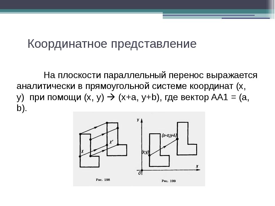 Координатное представление На плоскости параллельный перенос выражается ан...