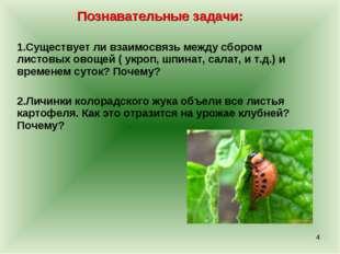 Познавательные задачи: Существует ли взаимосвязь между сбором листовых овощей