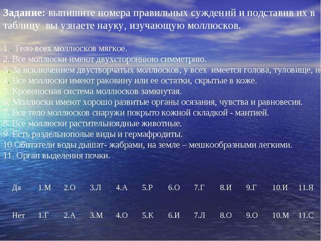 Задание: выпишите номера правильных суждений и подставив их в таблицу вы узна...