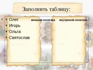 Заполнить таблицу: Олег внешняя политика внутренняя политика Игорь Ольга Свят