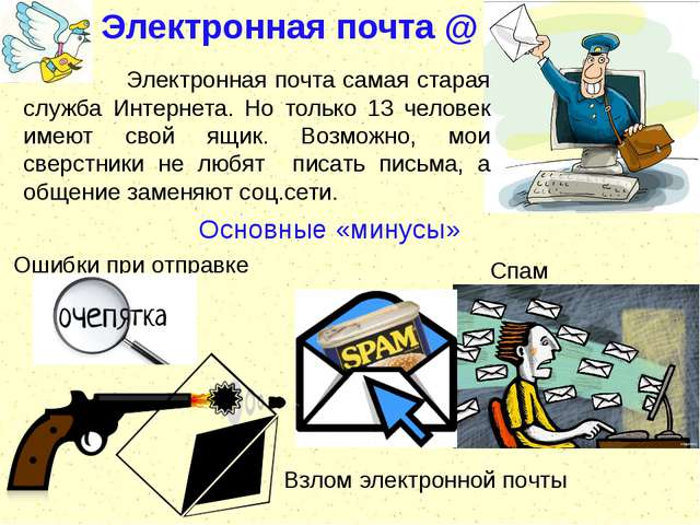 Электронная почта @ Основные «минусы» Электронная почта самая старая служба И...