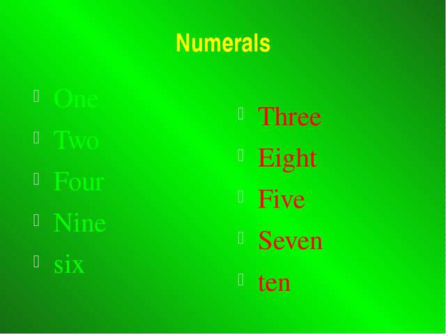 Numerals One Two Four Nine six Three Eight Five Seven ten