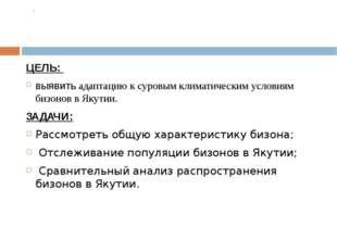 ЦЕЛЬ:  выявить адаптацию к суровым климатическим условиям бизонов в Якутии.