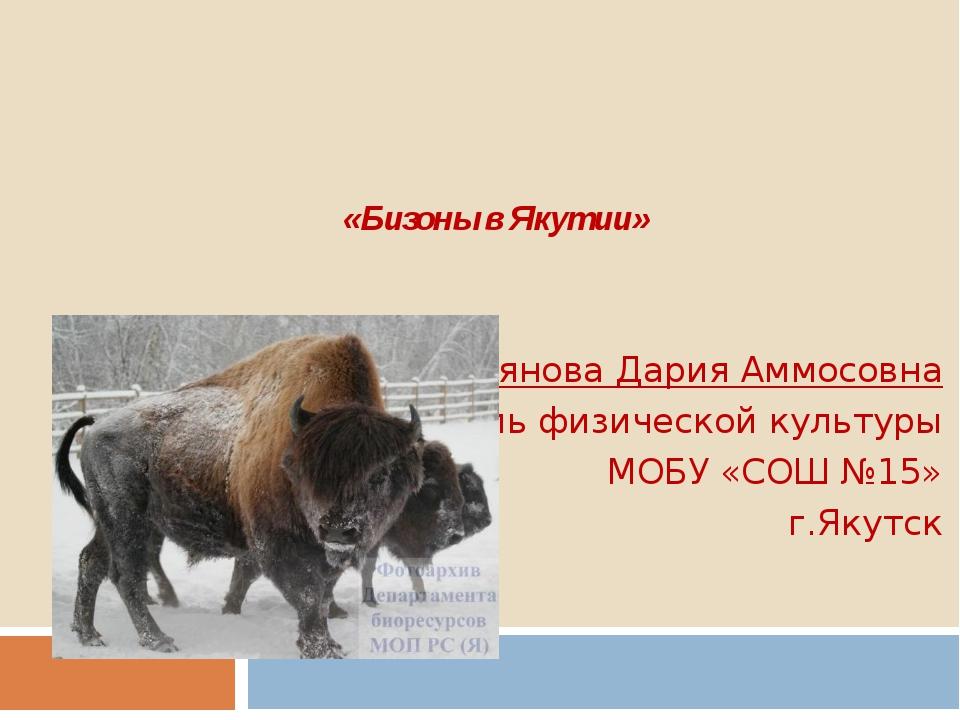«Бизоны в Якутии»   Куприянова Дария Аммосовна учитель...
