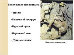 Македонский кавалерист Вооружение пехотинцев - Шлем Кожаный панцирь Круглый щ
