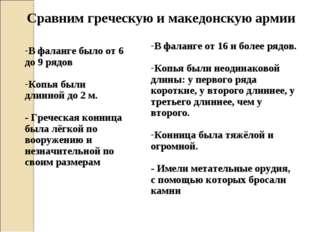 Сравним греческую и македонскую армии В фаланге было от 6 до 9 рядов Копья бы