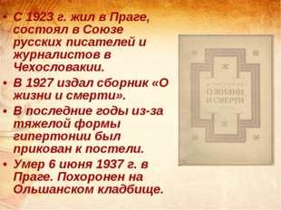 С 1923 г. жил в Праге, состоял в Союзе русских писателей и журналистов в Чех