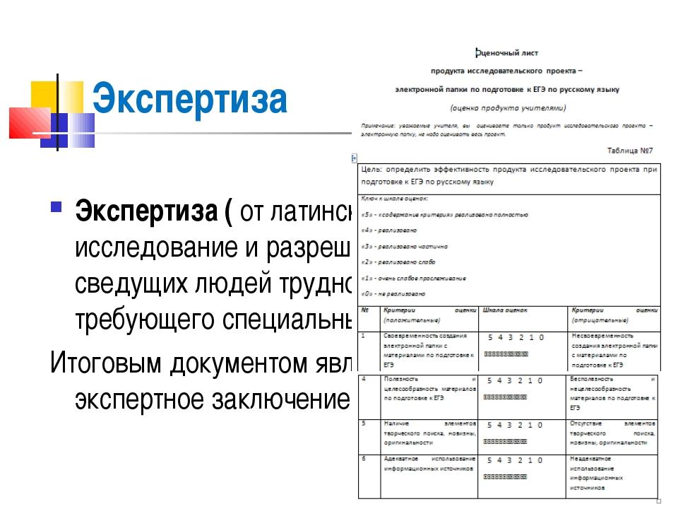 Экспертиза  Экспертиза ( от латинского опытный)- исследование и разрешение п...