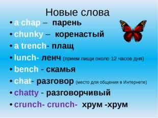 Новые слова  a chap –  парень chunky –  коренастый a trench- плащ lunch-