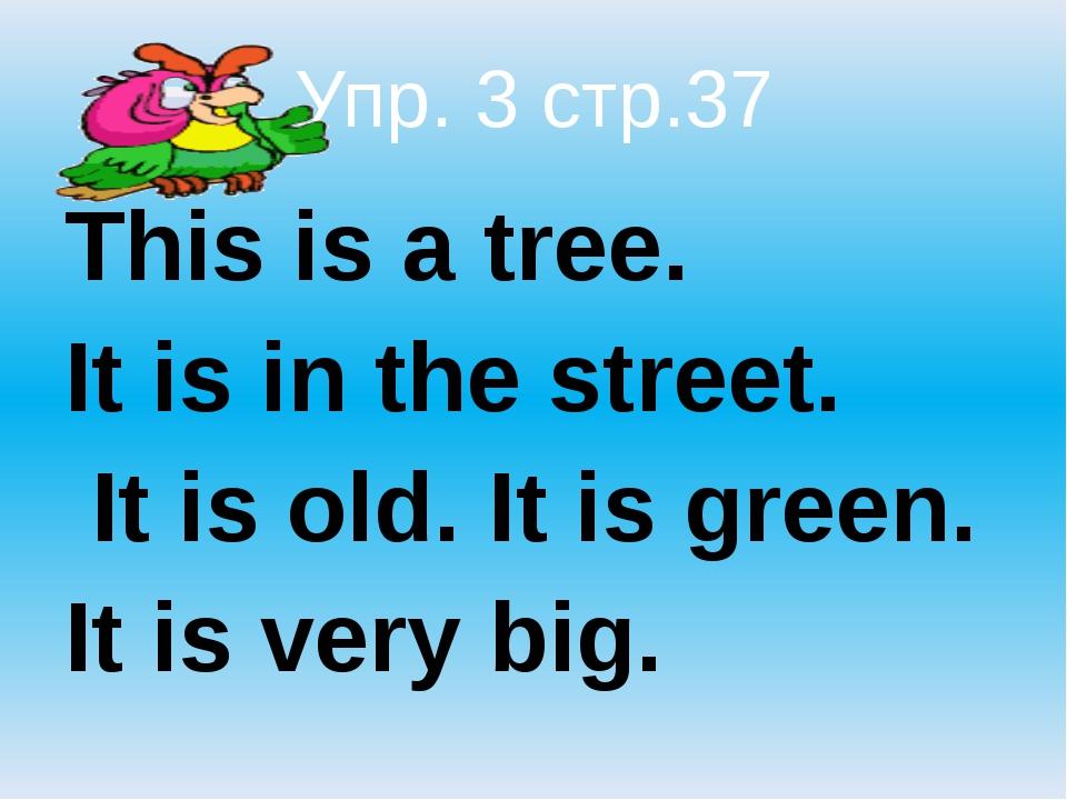 Упр. 3 стр.37 This is a tree.  It is in the street.  It is old. It is gree...