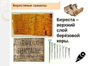 Берестяные грамоты Береста – верхний слой берёзовой коры.