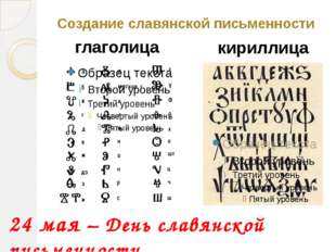 Создание славянской письменности глаголица кириллица 24 мая – День славянской