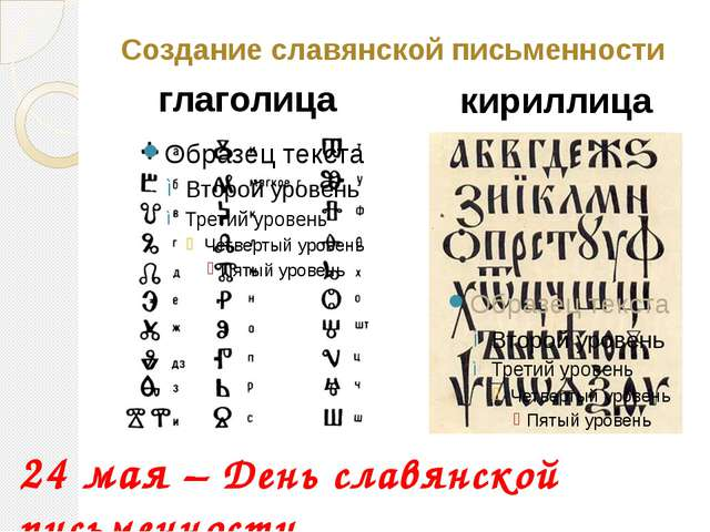 Создание славянской письменности глаголица кириллица 24 мая – День славянской...