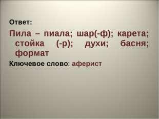Ответ: Пила – пиала; шар(-ф); карета; стойка (-р); духи; басня; формат Ключев